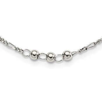 Sterling Silver Beaded Linked Necklace