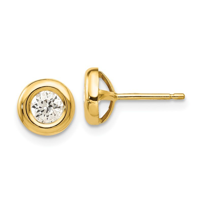 Quality Gold 14k Polished CZ Fancy Post Earrings
