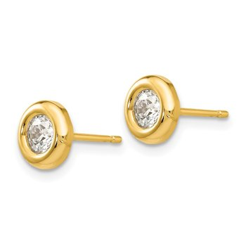 14k Polished CZ Fancy Post Earrings