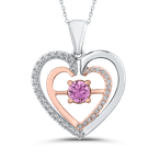 Essentials 10K Two Tone Gold 1/5 ct Diamond & 5/8 ct Pink Sapphire Double Heart Pendant with Chain