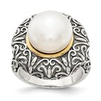Shey Couture Sterling Silver w/14k 12mm FW Cultured Pearl Ring