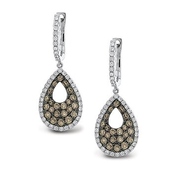 Champagne And White Diamond Teardrop Earrings in 14k White Gold with 124 Diamonds weighing 1.24ct tw.