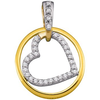 10kt Yellow Gold Womens Round Diamond Circle Nested Heart Pendant 1/5 Cttw