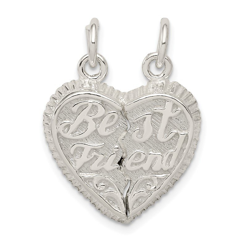 Quality Gold Sterling Silver Best Friend 2-piece Break apart Heart Charm