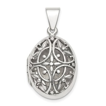 Sterling Silver Polished Filigree 17mm Oval Locket