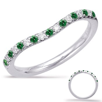 White Gold Emerald & Diamond Band