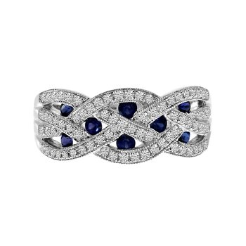 14k White Gold Sapphire and Diamond Braided Wide Band
