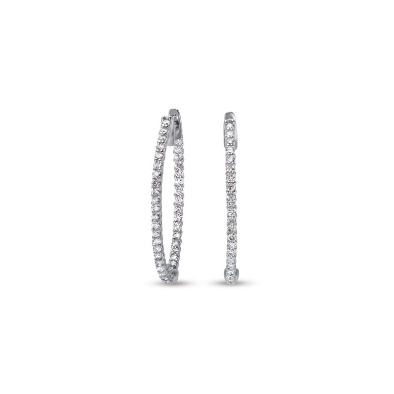S. Kashi  & Sons White Gold Oval Hoop Earring