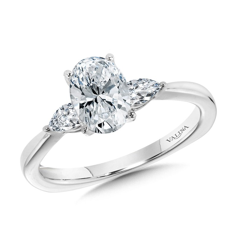 Valina Tapered 3 Stone Oval and Pear Diamond Engagement Ring