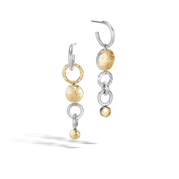 Dot Mismatched Drop Earrings in Silver and Hammered 18K Gold. Available at our Halifax location.
