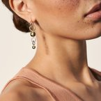 John Hardy Dot Mismatched Drop Earrings in Silver and Hammered 18K Gold