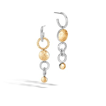 Dot Mismatched Drop Earrings in Silver and Hammered 18K Gold