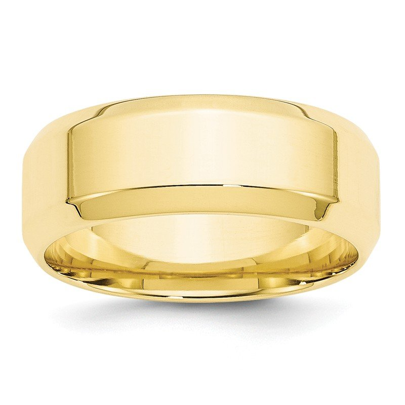 Quality Gold 10KY 8mm Bevel Edge Comfort Fit Band Size 10