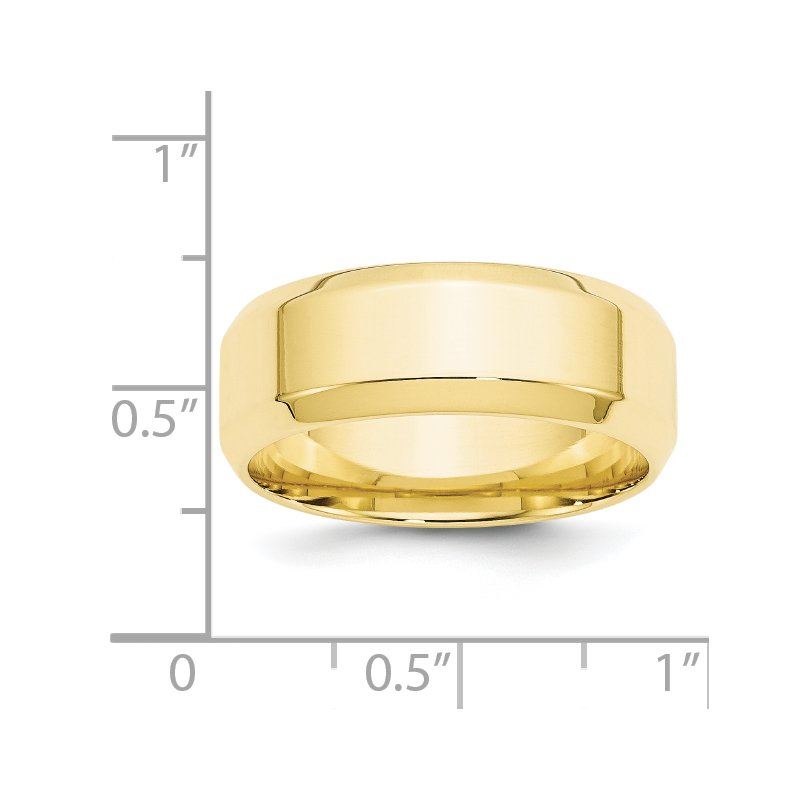 Fine Jewelry by JBD 10KY 8mm Bevel Edge Comfort Fit Band Size 10