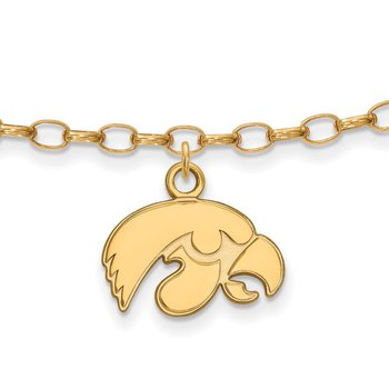 Gold-Plated Sterling Silver University of Iowa NCAA Bracelet