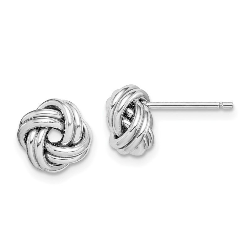 Quality Gold Sterling Silver Rhodium-plated Polished Love Knot Post Earrings