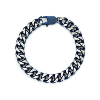 Stainless Steel Blue Ion Plated Thick Specialty Bracelet - 11 MM Wide, 8.5 Inches Length with Lobster Clasp