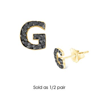 "Black Diamond Single Initial ""G"" Stud Earring (1/2 pair)"