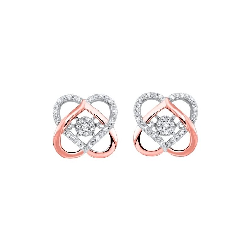 Gems One Love Knot Diamond Earrings in Two-Tone 10K Gold (1/10 ct. tw.)