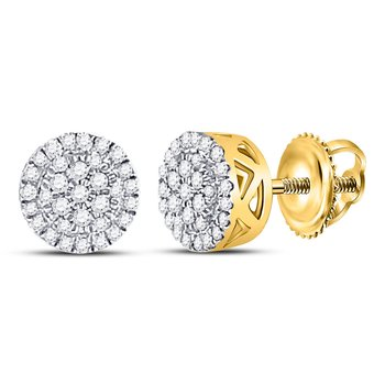 10kt Yellow Gold Womens Round Diamond Circle Cluster Earrings 3/8 Cttw