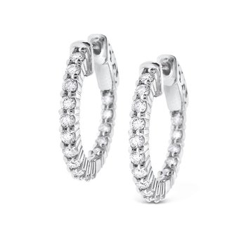 Diamond Inside Outside Hoop Earrings in 14K White Gold with 32 Diamonds Weighing .82ct tw.