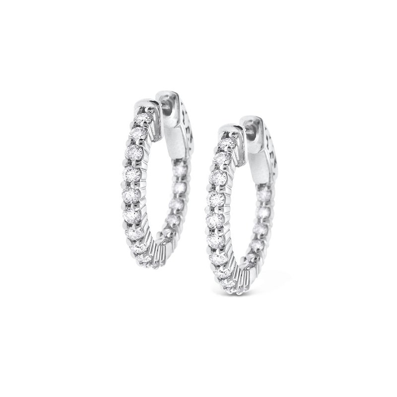 KC Designs Diamond Inside Outside Hoop Earrings in 14K White Gold with 32 Diamonds Weighing .82ct tw.