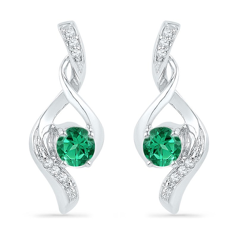 Kingdom Treasures 10kt White Gold Womens Round Lab-Created Emerald Solitaire Diamond Earrings 1/3 Cttw