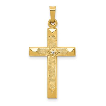 14k Textured and Polished Diamond Cross Pendant