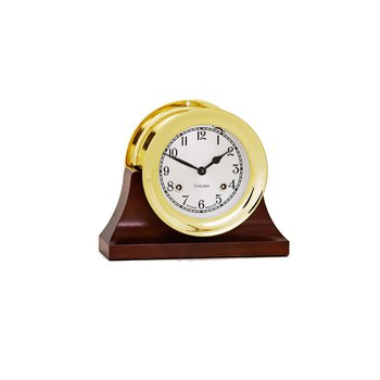 "4 1/2"" Shipstrike Clock in Brass on Contemporary Base"