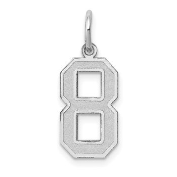 14k White Gold Medium Satin Number 8 Charm