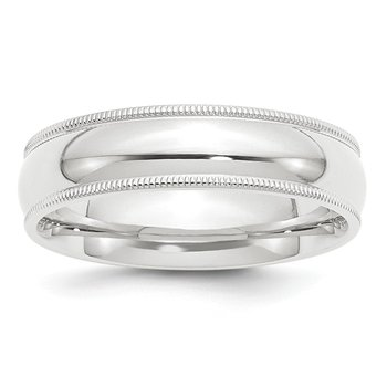 Platinum 6mm Comfort-Fit Milgrain Size 10 Wedding Band