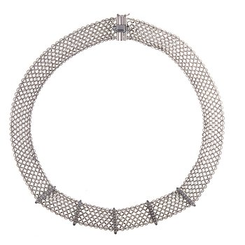 - 0.53ct. Diamond 18k White Gold Flat Wire Mesh Chain Necklace