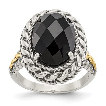 Sterling Silver w/14k Antiqued Onyx Ring