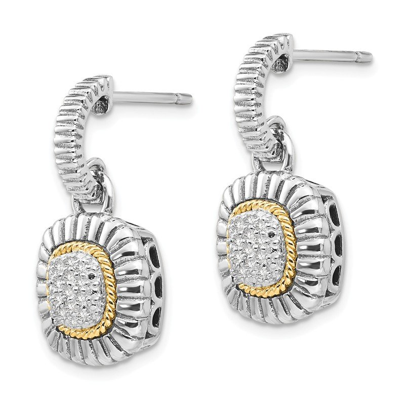 Shey Couture Sterling Silver w/14k Diamond Dangle Post Earrings