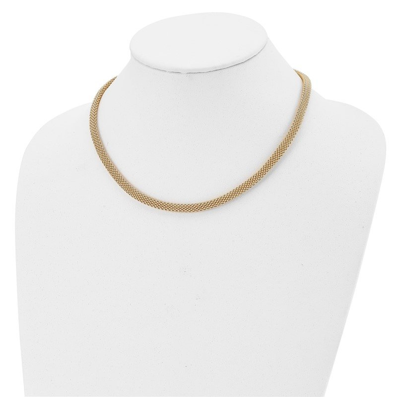 Leslie's Leslie's Sterling Silver Gold-tone Polished Mesh Necklace