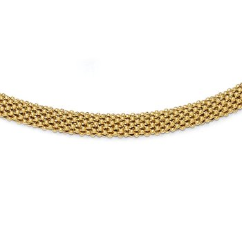 Leslie's Sterling Silver Gold-tone Polished Mesh Necklace