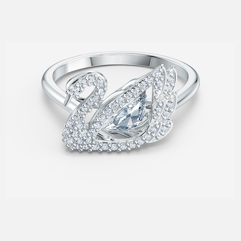 Swarovski Dancing Swan Ring, White, Rhodium plated