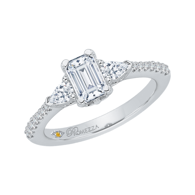 Promezza Emerald Cut Diamond Engagement Ring In 14K White Gold