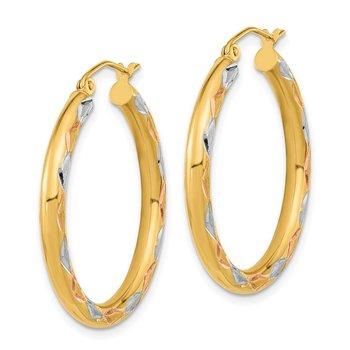 14k White Rhodium Polished Satin and Diamond-cut Hoop Earrings