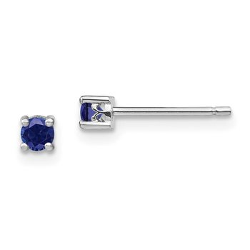 Sterling Silver 3mm Round Created Sapphire Post Earrings