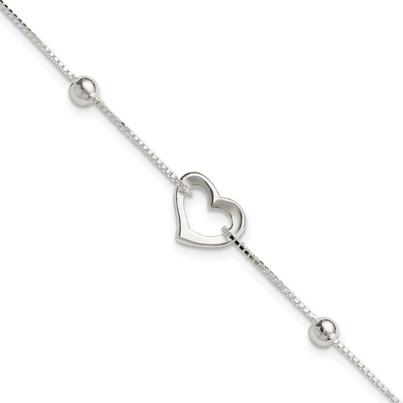 Quality Gold Sterling Silver Rhodium-plated Heart w/Box Chain Necklace