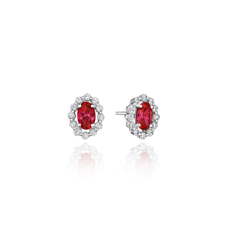 Fana Minimalist Magic Ruby and Diamond Studs