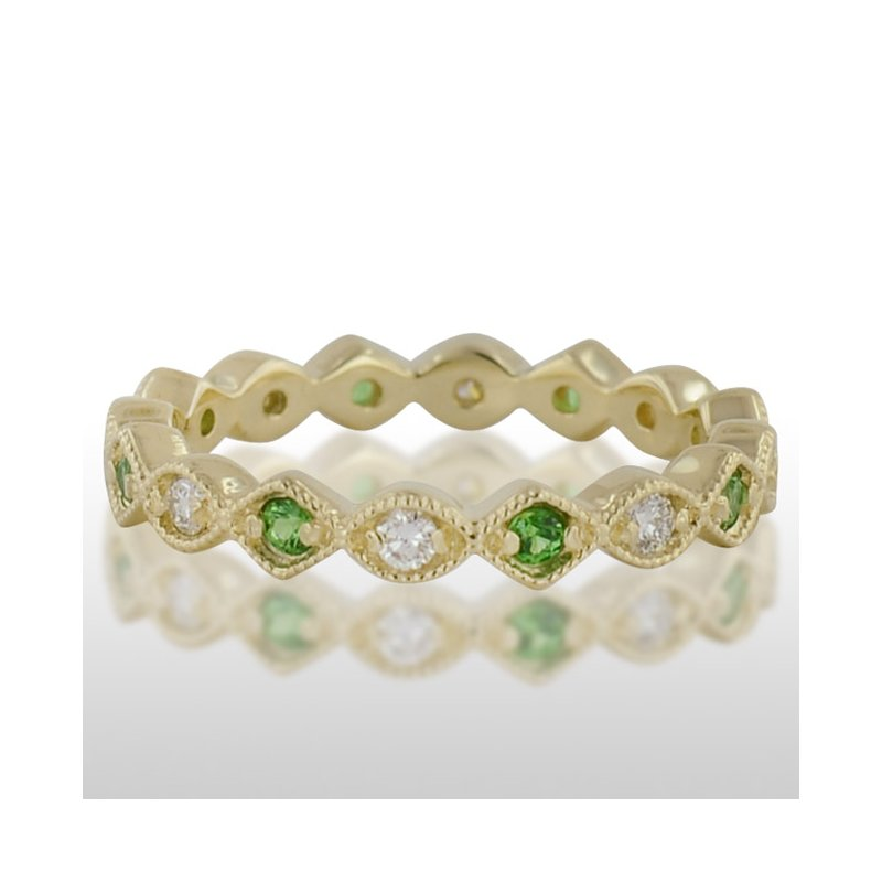 Novell Ladies' Green Gold Tzavorite and Diamond Ring