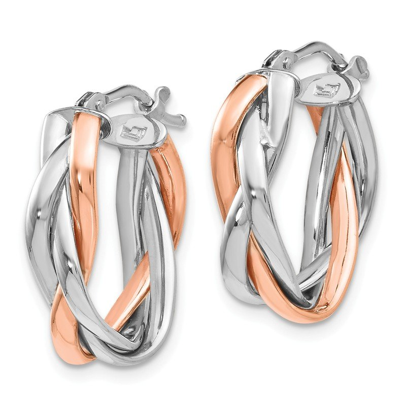 Leslie's Leslie's 14K White Gold Rose Rhodium-plated Hoop Earrings