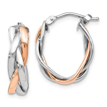 Leslie's 14K White Gold Rose Rhodium-plated Hoop Earrings