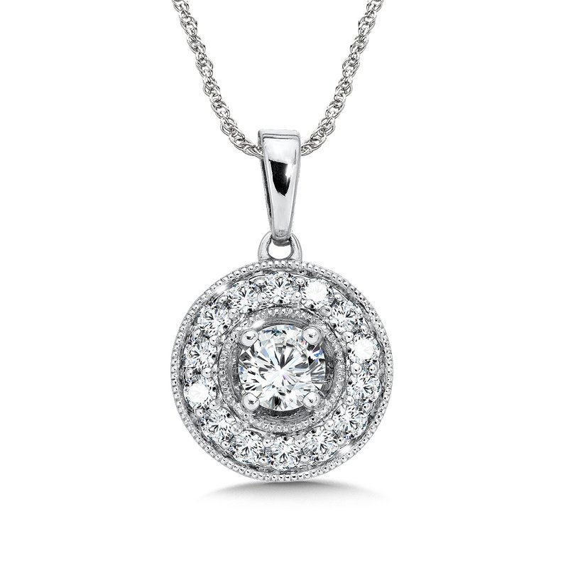 SDC Creations Pave and prong set Diamond Halo Pendant, 14k White Gold  (3/4 ct. tw.) HI/I1