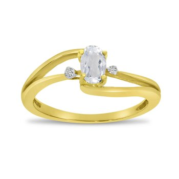 14k Yellow Gold Oval White Topaz And Diamond Wave Ring