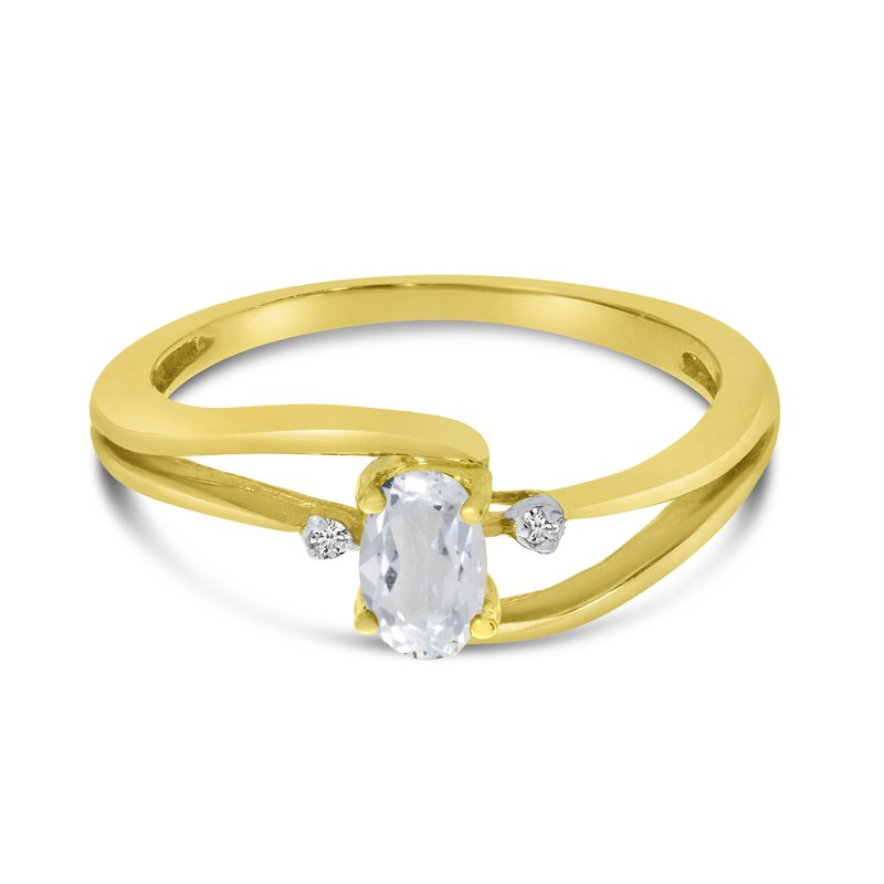 Color Merchants 14k Yellow Gold Oval White Topaz And Diamond Wave Ring