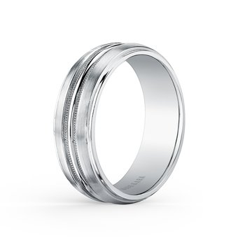 Milgrain Mens Subtle Wedding Band 7mm