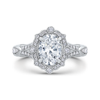 Carizza Oval Diamond Halo Engagement Ring In 14K White Gold with Split Shank (Semi-Mount)